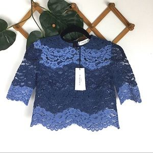 SANDRO Paris | Blue Lace Crop Top XS 0 NWT New